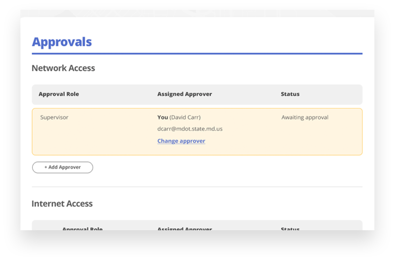MDOT eForms approvals page