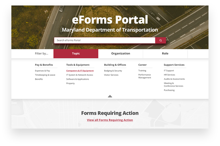 MDOT eForms portal search and browse forms