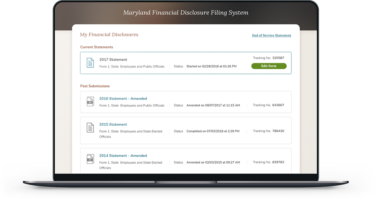 Maryland Financial Disclosures User Dashboard