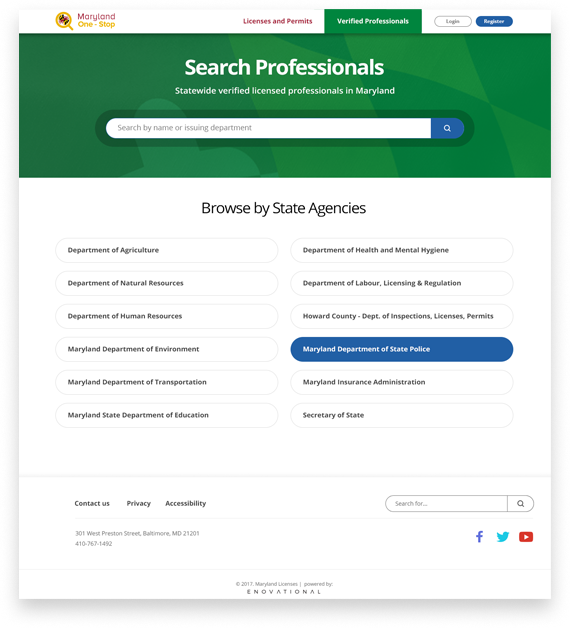 Maryland OneStop eForms search professional licensees